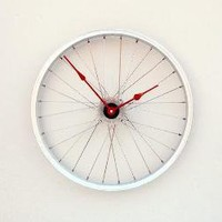 Clock made from a Recycled Bike Wheel by pixelthis on Etsy