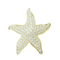 YELLOW GOLD STERLING SILVER 925 BLING CZ HAWAIIAN STARFISH SLIDE PENDANT 22.5MM