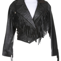 80s Black Fringed Leather Biker Jacket - M | Clothing | Rokit Vintage Clothing
