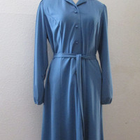 14-1012 Vintage 1970s Cornflower Blue Belted Tunic Dress / Tunic Dress with Belt / Polyester Knit Dress
