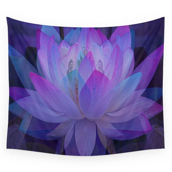 Society6 The Lotus In Blue... Wall Tapestry