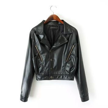 Black Button Zipper Faux Leather Biker Crop Jacket