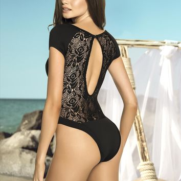 Black Scoop Neck High Hip Leg Crochet Keyhole Back One Piece Swimsuit