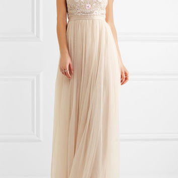 Needle & Thread - Prairie open-back embellished chiffon and tulle gown