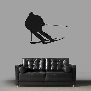 ik1864 Wall Decal Sticker skier skiing sport mountain living bedroom