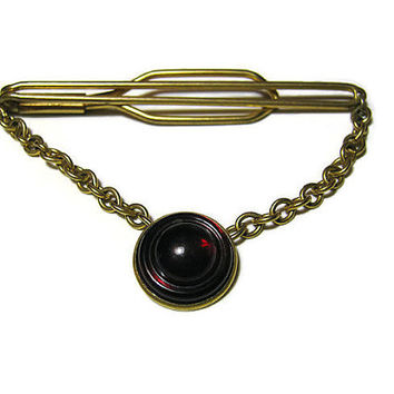 Vintage Cravat Holder with Chain Tie Clip Clasp Bar Brass Dark Red Mid Century Mens Formal Steampunk Hipster Jewelry