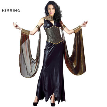 KIMRING EGYPTIAN CAT GODDESS COSTUME ADULT CLEOPATRA EGYPT WOMENS HALLOWEEN COSTUME QUEEN COSPLAY FANCY DRESS CARNIVAL COSTUME