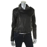 Material Girl Womens Juniors Faux Leather Asymmetric Motorcycle Jacket