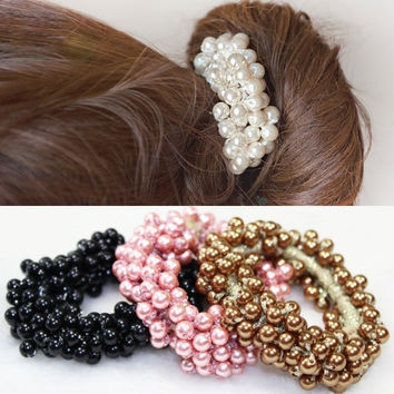 korean faux pearl elastic hair rubber band hair accessories for women girls Ponytail Holder hair ties headdress headbands