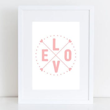 Love - Wall art , gift , pink typography  , print, instant download , gift , nursery
