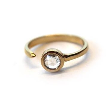 18k Yellow Gold 5mm Rose Cut Diamond Pinky Ring