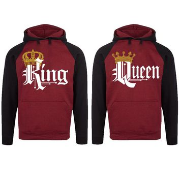 Royal King and Queen Two-tone Burgundy / Black Raglan Hoodie