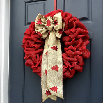 Red Burlap Christmas Door Wreaths Holiday Burlap Wreaths Red Decor Christmas Trees