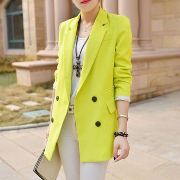 New Arrival Spring Women's fashion Brief Double Breasted casual Blazers Long Sleeve Suit  Pink Blue White Blazer A0203