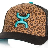 "Hooey ""Cheetah"" Ladies black/leopard print curved bill trucker hat OSFA"