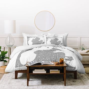 Restudio Designs Michigan Map Duvet Cover
