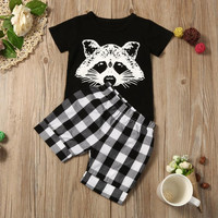 Baby Boy Fox Plaid Short Clothing Set