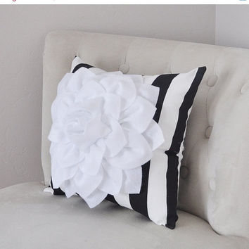 MOTHERS DAY SALE White Dahlia Flower on Black and White Stripe Pillow, Accent Pillow, Throw Pillow, Toss Pillow, Decorative Pillow