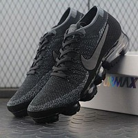 Tagre™ ONETOW Best Online Sale 2018 Nike Air VaporMax Vapor Max 2018 Flyknit Men Women Triple Black Sport Running Shoes 899473-0