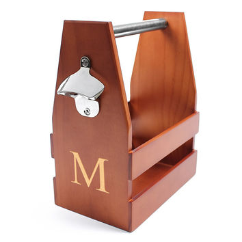 Personalized Wooden Craft Beer Carrier w/ Opener