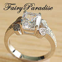 2.5 Ct Radiant Cut ( 7 mm * 8 mm ) Man Made Diamond,  Pave Split Shank Vintage Style Engagement Ring, Wedding Ring, Promise Ring