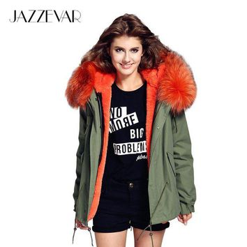 LMFONRZ JAZZEVAR woman army green Large raccoon fur collar hooded coat parkas outwear 2 in 1 detachable lining winter jacket brand style
