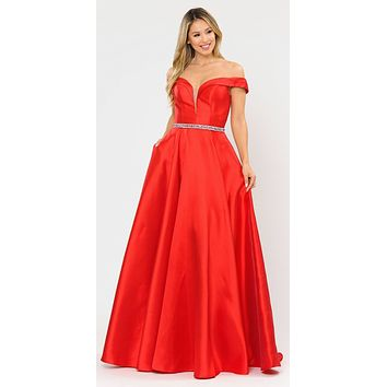Silky Satin Off-Shoulder Long Prom Dress Red with Pockets