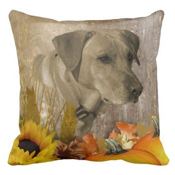 Harvest Labrador Retriever Throw Pillow