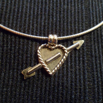 Authentic Navajo,Native American,Southwestern Sterling silver Cupid arrow heart pendant/necklace.