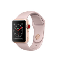 Apple Watch Series 3 GPS + Cellular, 38mm Gold Aluminum Case with Pink Sand Sport Band