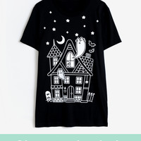 Pusheen Haunted House unisex tee