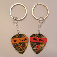 Her Buck His Doe Guitar pick matching keychains for couples love girl guy deer orange pink
