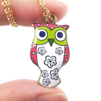 Owl Bird Shaped Illustrated Resin Pendant Necklace in Pink and White | DOTOLY