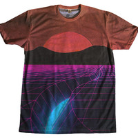 80s Grid Vaporwave Tshirt Two Sided Clothing