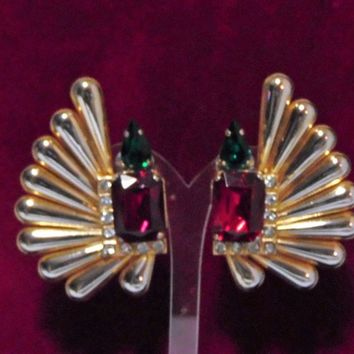 Designer Rhinestone Statement Earrings, Large Fan Shape, High End Style, Emerald Green, Ruby Red, Crystal Rhinestones, Gold Tone 1017