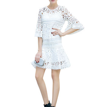 White Belle Sleeve Crochet Lace Mini Dress