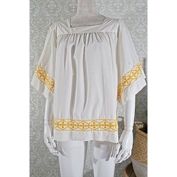 Vintage 1980s Cross + Embroidered Top