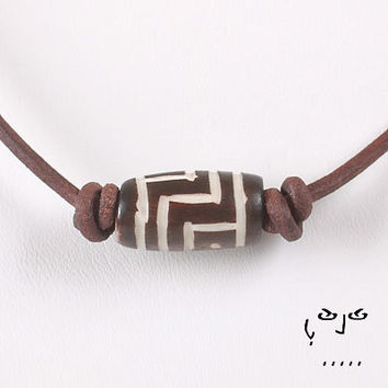 VujuWear Brown Bone Tribal Necklace - Men's Leather Necklace