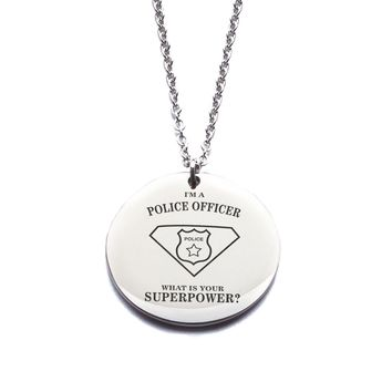 Custom Engraved [Police Officer] Stainless Steel Pendant Necklace