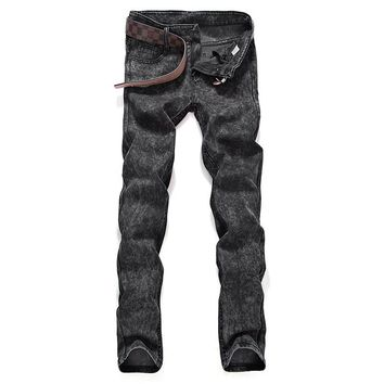 New 2017 Mens fashion boutique pure color slim leisure jeans / Grey black blue Mens casual Midweight jeans Male pants