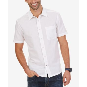 Nautica Mens Ramie Slim Fit Button-Down Shirt