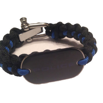 550 Paracord Thin Blue Line Police Dog Tag Bracelet- Hand Made