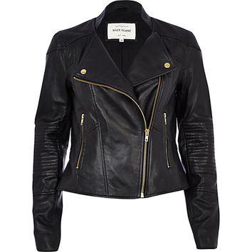 Black leather biker jacket - leather / leather look jackets - coats / jackets - women