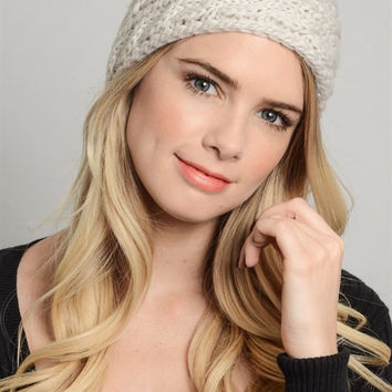 Braided Knit Headband - Ivory