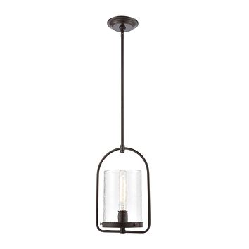 Perch 1-Light Mini Pendant in Oil Rubbed Bronze with Clear Hammered Glass