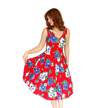 1960s Vintage Swing Dress. Mad Men Fashion. Floral Dress. Red Blue Green White Colors. Size XS S Cotton Summer Dress.