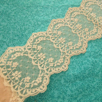 1 yard of 4 inch Nude Ivory chantilly galloon lace trim for bridal, baby, veils, altered couture, costume by MarlenesAttic