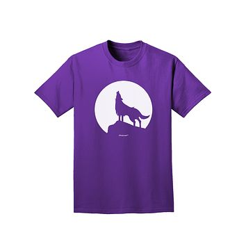 Wolf Howling at the Moon - Design #1 Adult Dark T-Shirt by TooLoud
