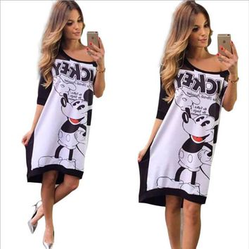 Cartoon Printed Mini Dress