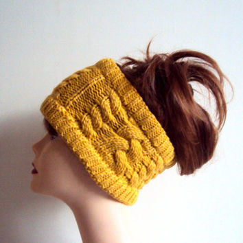 Earwarmer Headband Cable Knit Yellow Braided Hair Wrap Dreadlock Rasta Headband Women Fashion Accessories Hair Accessories Gift Ideas